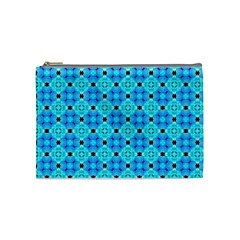 Vibrant Modern Abstract Lattice Aqua Blue Quilt Cosmetic Bag (medium)  by DianeClancy