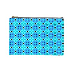 Vibrant Modern Abstract Lattice Aqua Blue Quilt Cosmetic Bag (large)  by DianeClancy