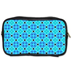 Vibrant Modern Abstract Lattice Aqua Blue Quilt Toiletries Bags 2 Side by DianeClancy
