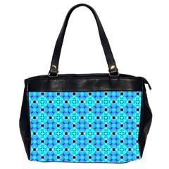 Vibrant Modern Abstract Lattice Aqua Blue Quilt Office Handbags (2 Sides)  by DianeClancy