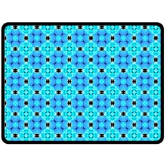 Vibrant Modern Abstract Lattice Aqua Blue Quilt Fleece Blanket (large)  by DianeClancy