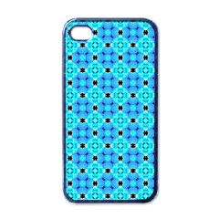 Vibrant Modern Abstract Lattice Aqua Blue Quilt Apple Iphone 4 Case (black) by DianeClancy
