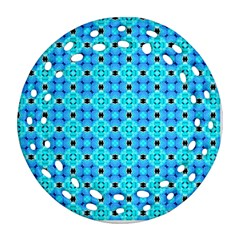 Vibrant Modern Abstract Lattice Aqua Blue Quilt Round Filigree Ornament (2side) by DianeClancy