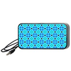 Vibrant Modern Abstract Lattice Aqua Blue Quilt Portable Speaker (black)  by DianeClancy
