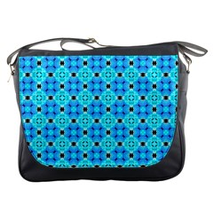 Vibrant Modern Abstract Lattice Aqua Blue Quilt Messenger Bags by DianeClancy