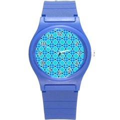 Vibrant Modern Abstract Lattice Aqua Blue Quilt Round Plastic Sport Watch (s) by DianeClancy