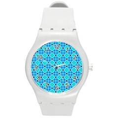 Vibrant Modern Abstract Lattice Aqua Blue Quilt Round Plastic Sport Watch (m) by DianeClancy