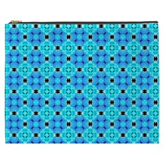 Vibrant Modern Abstract Lattice Aqua Blue Quilt Cosmetic Bag (xxxl)  by DianeClancy