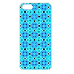 Vibrant Modern Abstract Lattice Aqua Blue Quilt Apple Iphone 5 Seamless Case (white) by DianeClancy