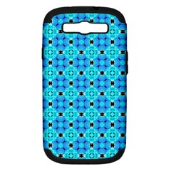 Vibrant Modern Abstract Lattice Aqua Blue Quilt Samsung Galaxy S Iii Hardshell Case (pc+silicone) by DianeClancy