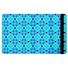Vibrant Modern Abstract Lattice Aqua Blue Quilt Apple Ipad 3/4 Flip Case by DianeClancy