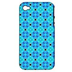 Vibrant Modern Abstract Lattice Aqua Blue Quilt Apple Iphone 4/4s Hardshell Case (pc+silicone) by DianeClancy