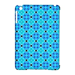 Vibrant Modern Abstract Lattice Aqua Blue Quilt Apple Ipad Mini Hardshell Case (compatible With Smart Cover) by DianeClancy
