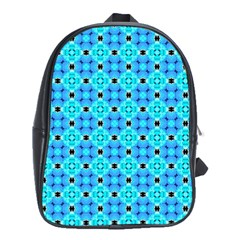 Vibrant Modern Abstract Lattice Aqua Blue Quilt School Bags (xl)  by DianeClancy
