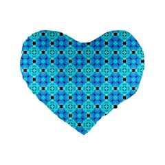 Vibrant Modern Abstract Lattice Aqua Blue Quilt Standard 16  Premium Heart Shape Cushions by DianeClancy