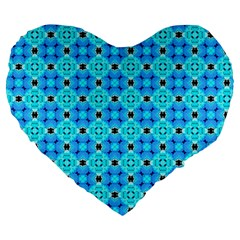 Vibrant Modern Abstract Lattice Aqua Blue Quilt Large 19  Premium Heart Shape Cushions by DianeClancy