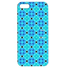 Vibrant Modern Abstract Lattice Aqua Blue Quilt Apple Iphone 5 Hardshell Case With Stand by DianeClancy