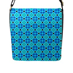 Vibrant Modern Abstract Lattice Aqua Blue Quilt Flap Messenger Bag (l)  by DianeClancy