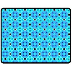 Vibrant Modern Abstract Lattice Aqua Blue Quilt Double Sided Fleece Blanket (medium)  by DianeClancy
