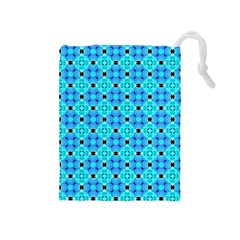 Vibrant Modern Abstract Lattice Aqua Blue Quilt Drawstring Pouches (medium)  by DianeClancy