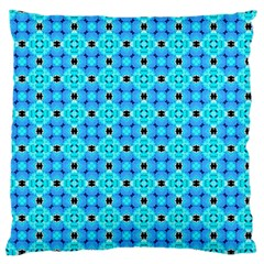 Vibrant Modern Abstract Lattice Aqua Blue Quilt Large Flano Cushion Case (two Sides) by DianeClancy