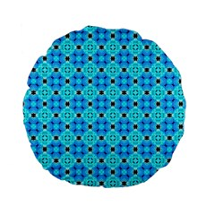 Vibrant Modern Abstract Lattice Aqua Blue Quilt Standard 15  Premium Flano Round Cushions by DianeClancy