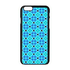 Vibrant Modern Abstract Lattice Aqua Blue Quilt Apple Iphone 6/6s Black Enamel Case by DianeClancy