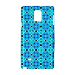 Vibrant Modern Abstract Lattice Aqua Blue Quilt Samsung Galaxy Note 4 Hardshell Case by DianeClancy