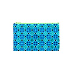 Vibrant Modern Abstract Lattice Aqua Blue Quilt Cosmetic Bag (xs) by DianeClancy