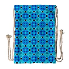 Vibrant Modern Abstract Lattice Aqua Blue Quilt Drawstring Bag (large) by DianeClancy