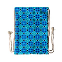 Vibrant Modern Abstract Lattice Aqua Blue Quilt Drawstring Bag (small) by DianeClancy
