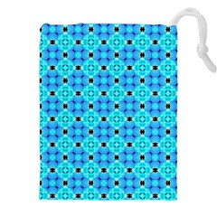Vibrant Modern Abstract Lattice Aqua Blue Quilt Drawstring Pouches (xxl) by DianeClancy