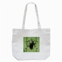 Awesome Green Skull Tote Bag (white) by FantasyWorld7