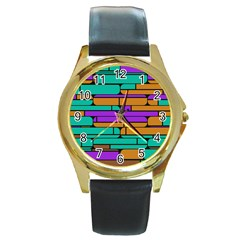 Round Corner Shapes In Retro Colors            			round Gold Metal Watch by LalyLauraFLM