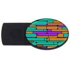 Round Corner Shapes In Retro Colors            			usb Flash Drive Oval (2 Gb) by LalyLauraFLM