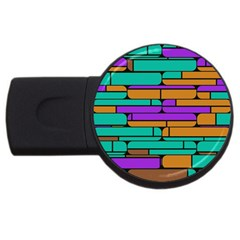 Round Corner Shapes In Retro Colors            			usb Flash Drive Round (4 Gb) by LalyLauraFLM