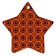 Peach Purple Abstract Moroccan Lattice Quilt Ornament (star)  by DianeClancy