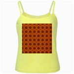 Peach Purple Abstract Moroccan Lattice Quilt Yellow Spaghetti Tank Front