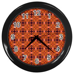 Peach Purple Abstract Moroccan Lattice Quilt Wall Clocks (black) by DianeClancy