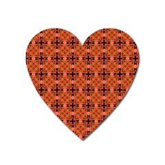 Peach Purple Abstract Moroccan Lattice Quilt Heart Magnet by DianeClancy