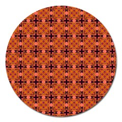 Peach Purple Abstract Moroccan Lattice Quilt Magnet 5  (round) by DianeClancy