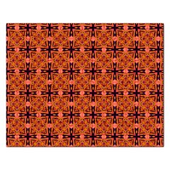 Peach Purple Abstract Moroccan Lattice Quilt Rectangular Jigsaw Puzzl by DianeClancy