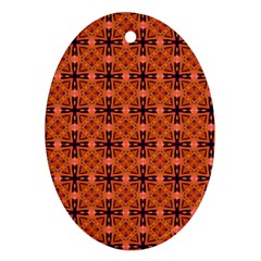Peach Purple Abstract Moroccan Lattice Quilt Oval Ornament (two Sides) by DianeClancy