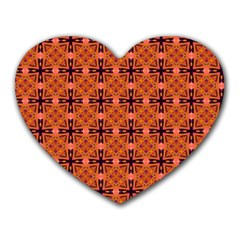 Peach Purple Abstract Moroccan Lattice Quilt Heart Mousepads by DianeClancy