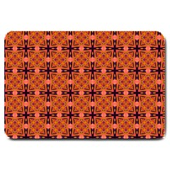 Peach Purple Abstract Moroccan Lattice Quilt Large Doormat  by DianeClancy