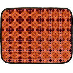 Peach Purple Abstract Moroccan Lattice Quilt Double Sided Fleece Blanket (mini)  by DianeClancy