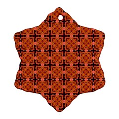 Peach Purple Abstract Moroccan Lattice Quilt Snowflake Ornament (2 Side) by DianeClancy