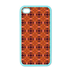 Peach Purple Abstract Moroccan Lattice Quilt Apple Iphone 4 Case (color) by DianeClancy