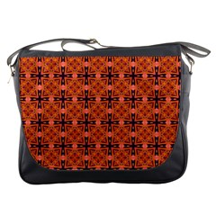 Peach Purple Abstract Moroccan Lattice Quilt Messenger Bags by DianeClancy