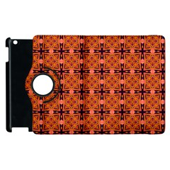Peach Purple Abstract Moroccan Lattice Quilt Apple Ipad 2 Flip 360 Case by DianeClancy